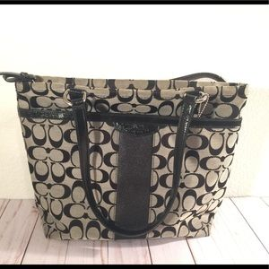 Coach black grey Signature shoulder tote RN28504